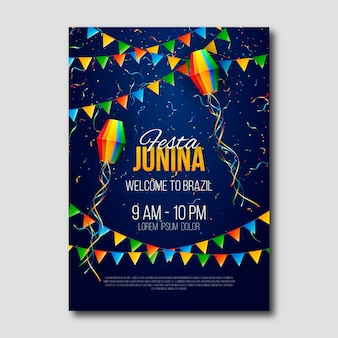Realistic festa junina party poster
