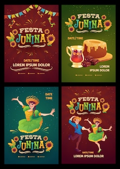 Realistic festa junina poster template collection