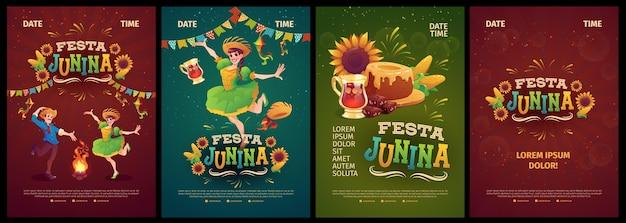 Collezione realistica di modelli di poster festa junina