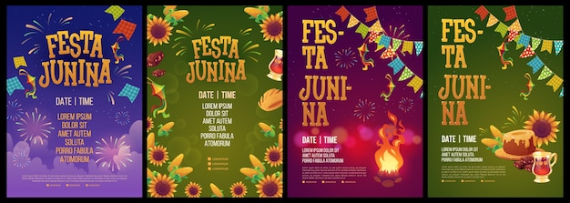 Realistic festa junina poster template collection Free Vector