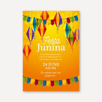 Realistic festa junina poster template