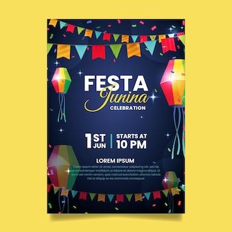 Реалистичный шаблон постера festa junina