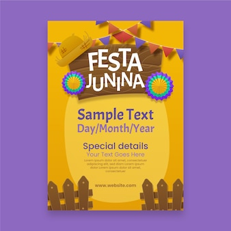 Realistic festa junina poster with flowers