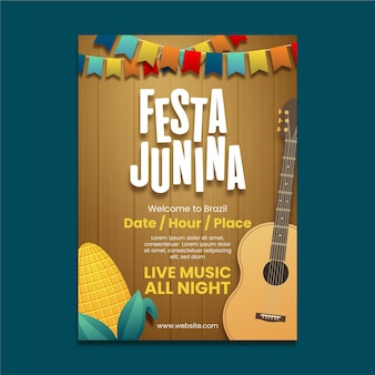 Realistic festa junina poster with guitar