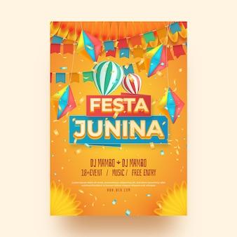 Realistic festa junina vertical poster template