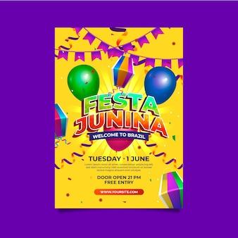 현실적인 축제 junina 수직 포스터 템플릿