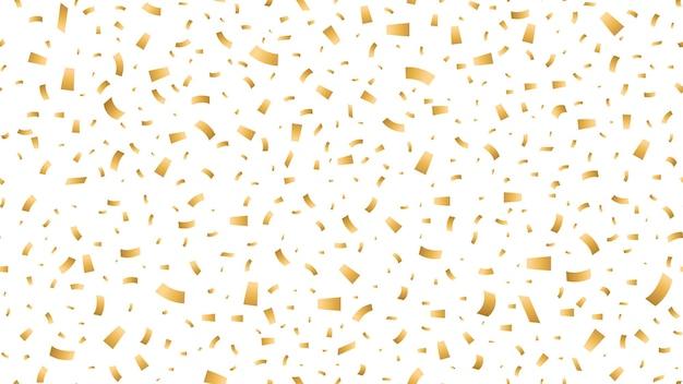 Реалистичный праздничный яркий бесшовный узор с падающими золотыми конфетти на белом