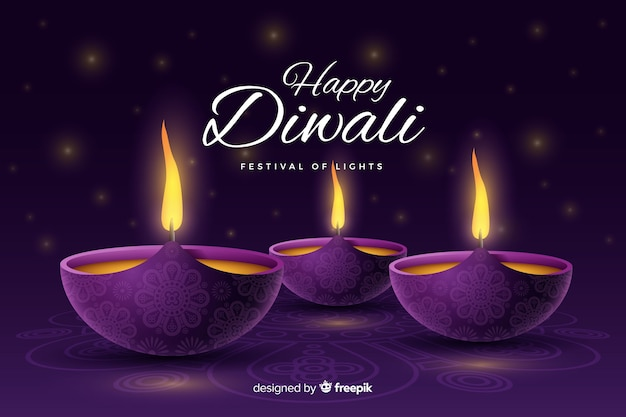 Realistic festive diwali background with candles