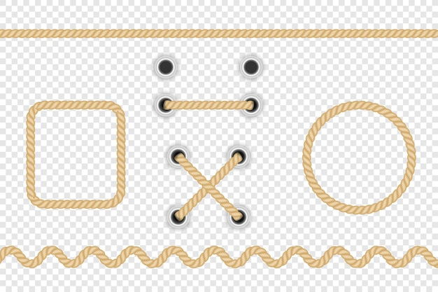 Realistic fiber ropes isolated on transparent background.