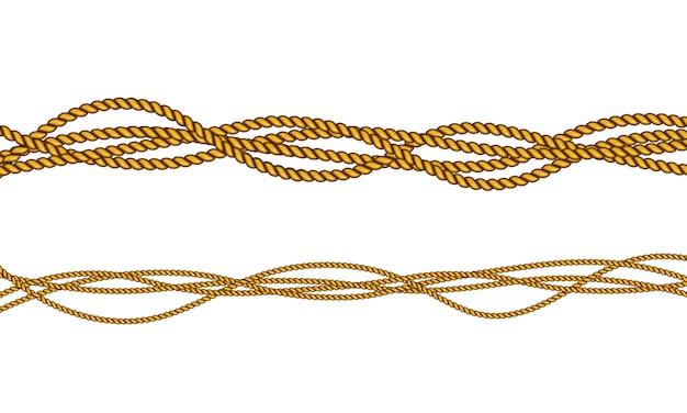 Realistic fiber ropes. military fleet, sailing on ship.