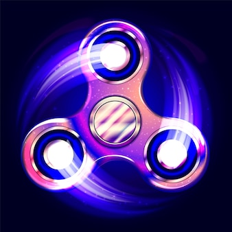 Realistic fidget spinner. stress relieving toy. trendy hand spinning machine. violet shimmering cosmic style.