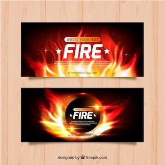 Реалистичный огненный баннер