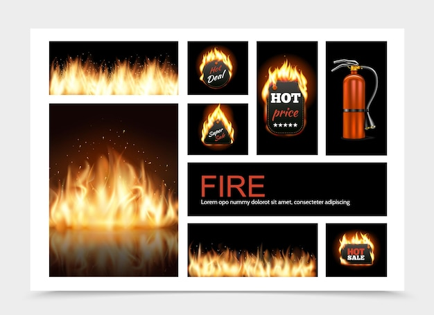 Realistic fire composition with hot fiery sale emblems flame blaze and fire extinguisher illustration