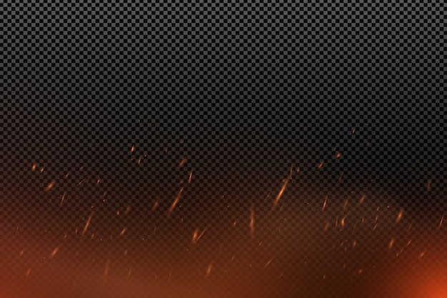 Realistic fire effect with particles on a transparent dark background. the flame sparkles.