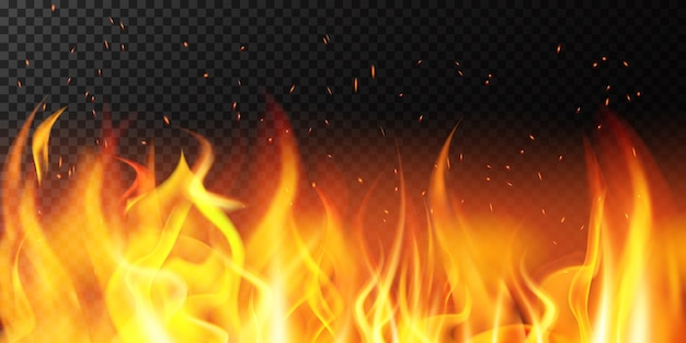 Реалистичный огонь. пламя яркая граница, огненные блестки, горящее знамя, горячая красная пылающая иллюстрация фона украшения. огонь и легковоспламеняющиеся, граница костра