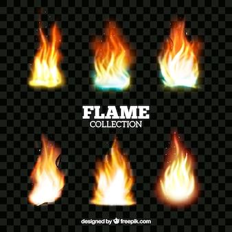 Реалистичная коллекция огневого пламени Бесплатные векторы