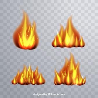 現実的な火の炎の収集