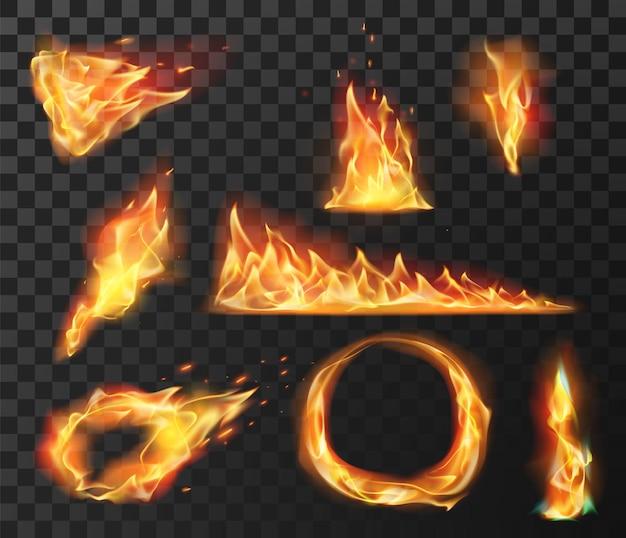 リアルな火炎要素。火の玉、円、トーチ、山火事の燃焼効果。明るい火花ベクトルセットで燃える炎を燃え上がらせます。火傷効果、炎および熱エネルギー