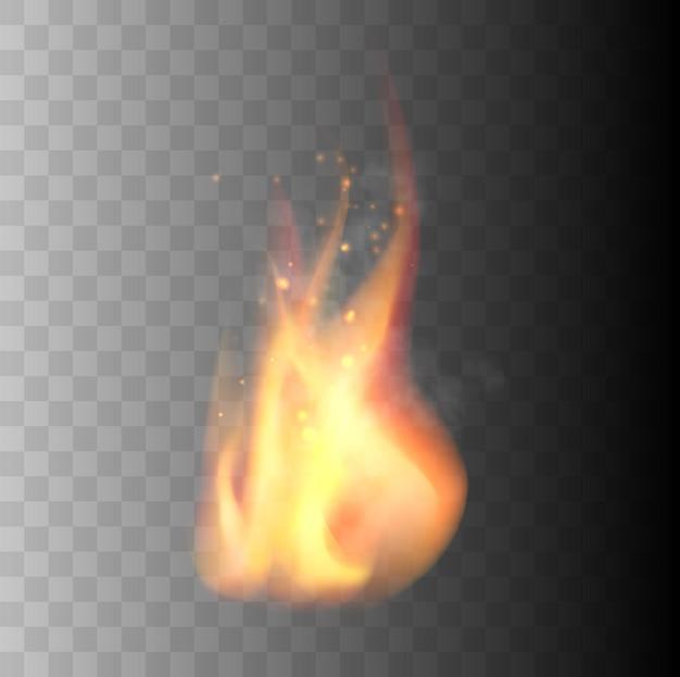 透明な背景のベクトル図に分離されたリアルな火炎