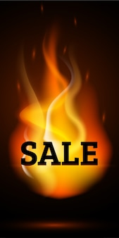 Realistic fire flames sale banner. burning light effect
