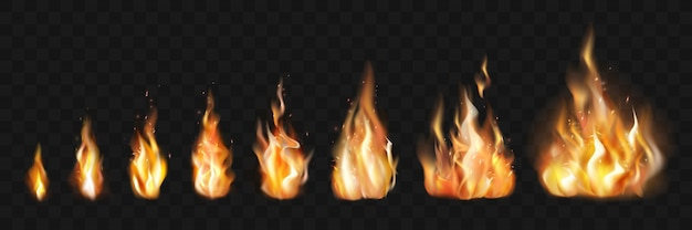 Realistic fire flames set collection