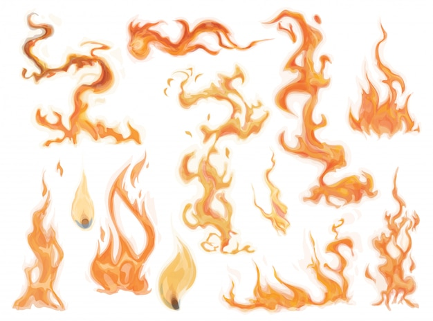Realistic fire flames set.