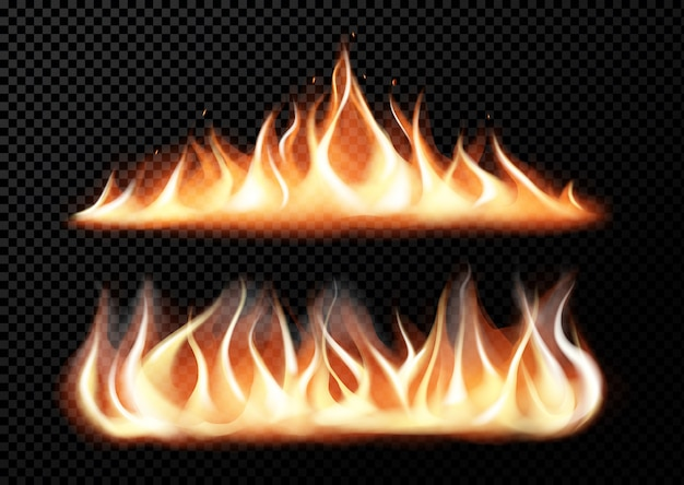 Realistic fire flames on transparent black