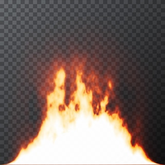 Realistic fire flames on transparent grid background