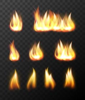 Realistic fire flames transparent set
