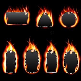 Realistic fire label set on dark background