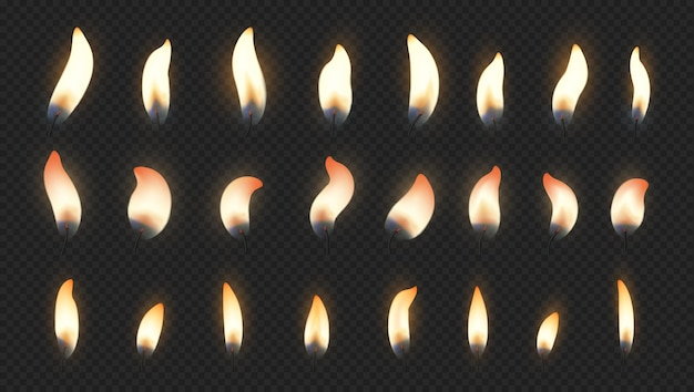 バースデーケーキの燃えるろうそくのための現実的な火の光の効果