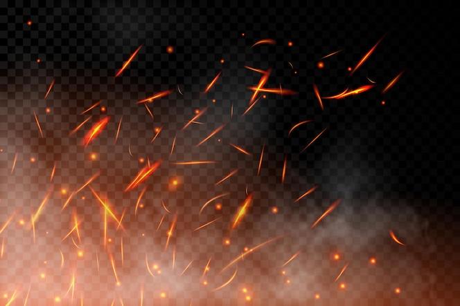 현실적인 화재는 투명한 배경에서 배경을 촉발합니다. 불씨를 태우고 재와 연기가 공중으로 날아가는 불타는 불꽃 효과. 모닥불의 빛과 불꽃이 있는 열 효과. 벡터