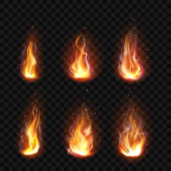 Реалистичная огонь, факел пламя набор изолированных картинки