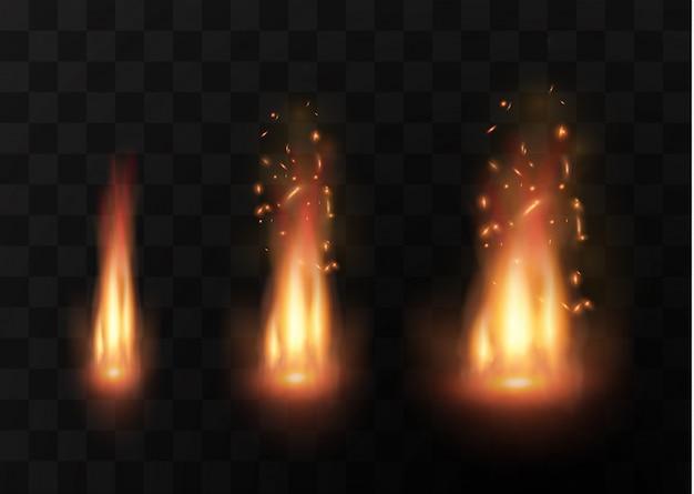 現実的な火の透明な特殊効果の要素。熱い炎が爆発しています。キャンプファイヤー。