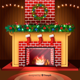 Realistic fireplace christmas background