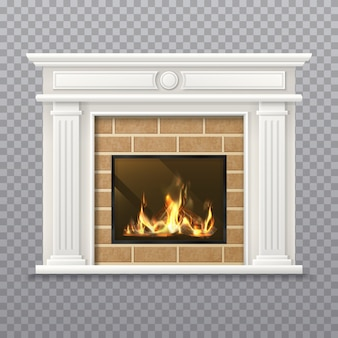 レンガの壁に現実的な暖炉。透明な背景に分離された火の場所。炎が付いている3d炉か薪が付いている煙突、格子が付いている居間の暖炉、ストーブ。クリスマスのインテリア