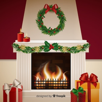 Realistic fireplace scene background