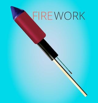 リアルな花火ロケットスティック赤と黒の花火