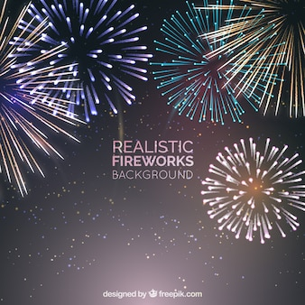 Realistic fireworks background