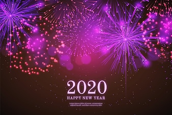 Realistic fireworks new year 2018 background in black