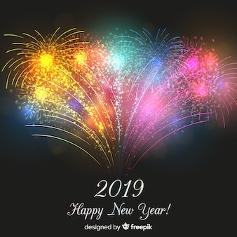 Realistic fireworks new year background