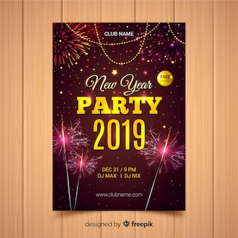 Realistic fireworks new year poster template