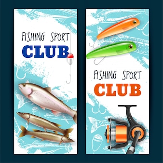 Realistic fishing banners