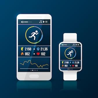 전화 및 스마트 시계와 함께 현실적인 피트니스 추적기 팔찌 그림