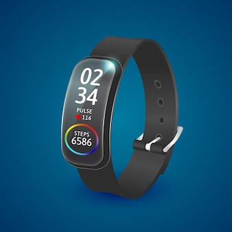 Realistic fitness tracker bracelet illustration