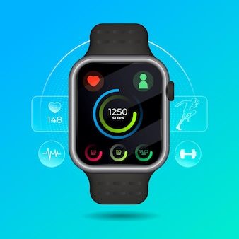 Realistic fitness tracker illustration