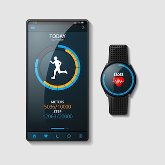 Realistic fitness trackers concept