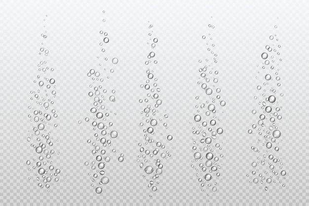 Реалистичные шипящие пузыри. подводный карбонат искрится под водой газообразным газом, изолированным аквариумным воздухом. пузырьковый поток