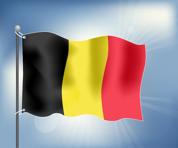Realistic flag of belgium