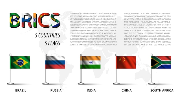 Realistic flag of brics and membership with flagpole